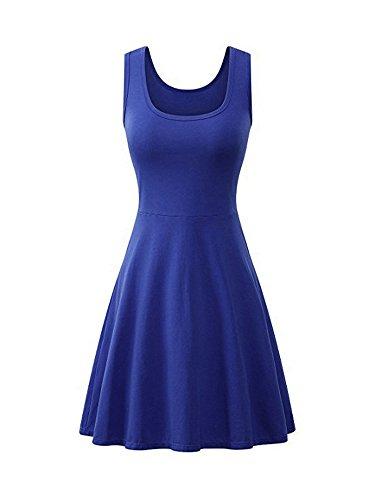 MinYuocom Damen Kleid Ärmellos Strand Sommer Baumwolle Flared Tank Blau MZF5127U-XXL (Flip Flop Kleid)