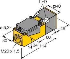 Turck Sensor induktiv Ni40U-CP40-AP6X2 10.30VDC S PNP Induktiver Näherungsschalter 4047101078930
