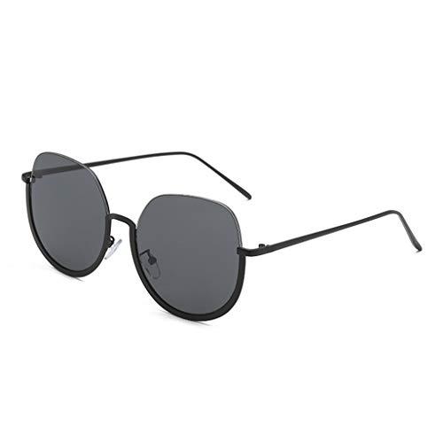Trendige Halbrahmen Metall Rand Rahmen Sonnenbrille Herren Damen Persönlichkeit Brillengestell Trendige Punk Wind Brillengestell Vintage Style Brille HOOPERT (Schwarz)
