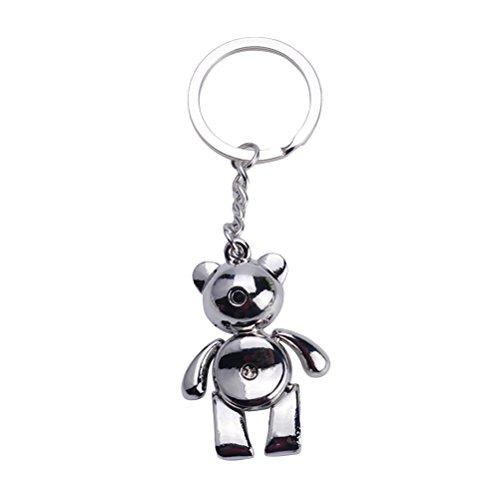 Yeahibaby cute bear portachiavi metallo freddo auto portachiavi borsa decorazione regalo creativo portachiavi (argento)