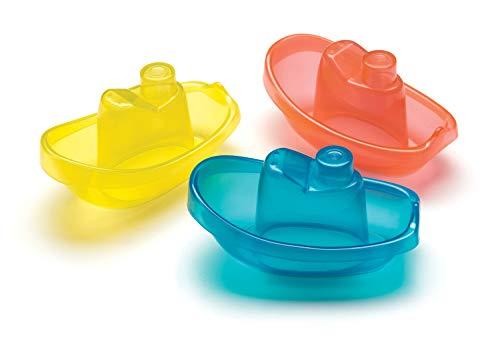 Playgro Barquitos Flotantes, 3 Piezas, Sin BPA, Desde los 6 Meses, Bright Baby Boats, Azul/Rojo/Amarillo...