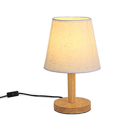 FSLiving Modern Einfache Tisch Nacht Lampe Nachttisch Lampe Massivholz Basis LED kleine Lampe warmes Licht für Wohnzimmer / Schlafzimmer / Studie (Birne ist nicht im Lieferumfang enthalten)