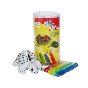 Rayher Hobby RAYHER 7551500 Stofftier, Schildkröte zum Bemalen, 12 cm, PVC-Box 1 Tier und 4 Stifte (4-tier-box)