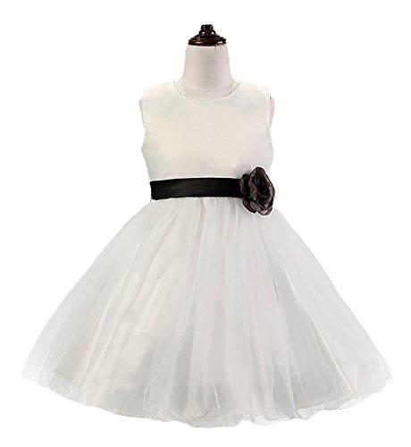 BaiXia Blumen Mädchen Weiß Fleck Kleinkind Kinder Hochzeit Tutu Kleid Schwarz 6 (Mit Spitzen-overlay Satin-kleid)