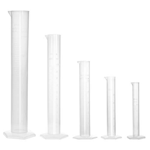 UEETEK 5 Stücke Messzylinder Kunststoff Messzylinder Flüssigkeit Messwerkzeuge 10 ml / 25 ml / 50 ml / 100 ml / 250 ml -