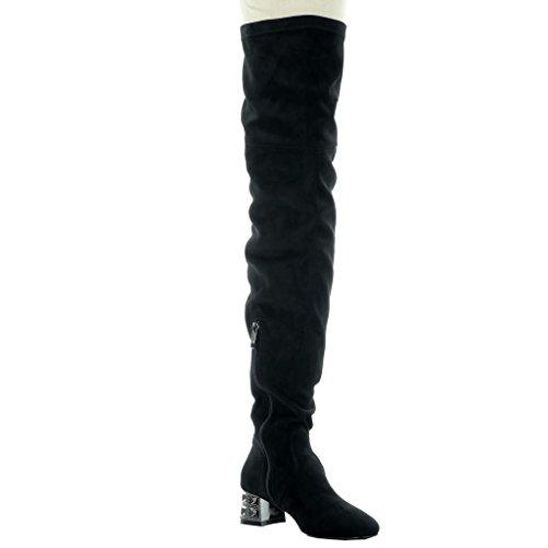 Angkorly - damen Schuhe Oberschenkel-Boot - Oberschenkel-Boot - Flexible - Schmuck Blockabsatz high heel 4.5 CM Schwarz