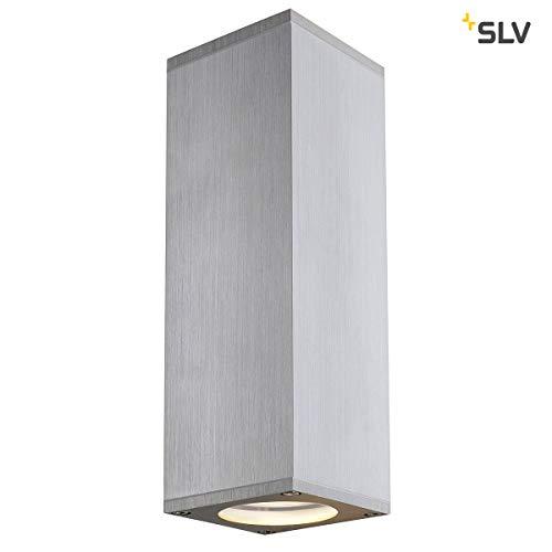 SLV THEO UP/DOWN OUT eckig, weiß GU10, Aluminium, 1 W, alu gebürstet, 22,5 x 7,5 x 7 cm -