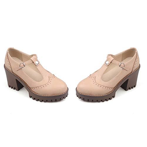 2019 Spring Autumn Women Pumps Fashion Buckle solid Color Square Heels Comfortable high Heels Platform Shoes apricot 6 Jessica Simpson Nordstrom