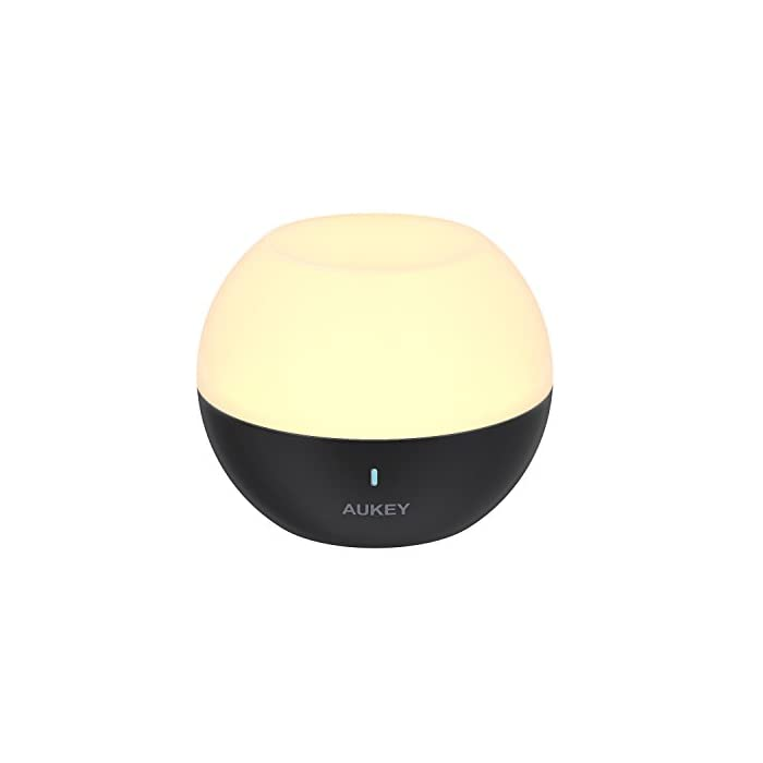 AUKEY Nachtlicht Kind, Mini Tragbare Wiederaufladbare Nachttischlampe, IP65 Wasserdicht & Sturzfest, Mobile Wandlampe Wandleuchte mit Farbwechsel RGB, Dimmbares Weiß & Warm Licht. 1