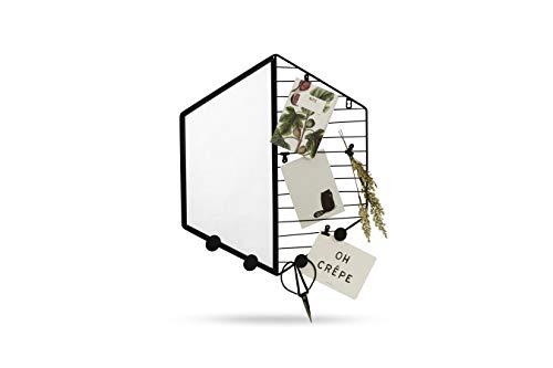 LIFA LIVING Kleiner Wandspiegel mit Notizgitter, Hexagonförmige Kombination aus Spiegel und schwarzem Metallgitter, Notizen Fotos Postkarten, 47,5 x 41,5 x 2 cm