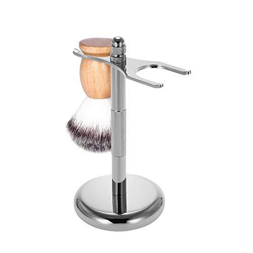 Deluxe Rasiermesser und Pinsel Ständer Abnehmbar Chrom Rasier Halter mit Rutschfester Unterseite Für die Meisten Rasiermesser und Pinsel -