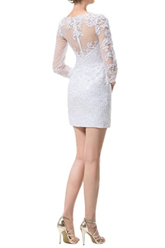 ivyd ressing Femme Haute Qualité Etui Ligne Long manche pointe Lave-vaisselle robe Prom robe robe du soir Weiß