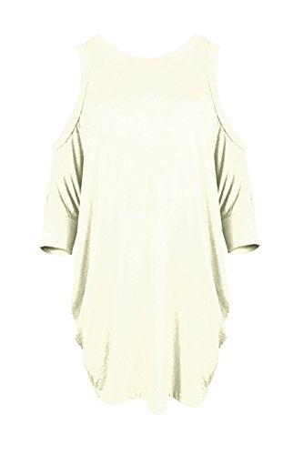 Janisramone Nouveau Femme Haut avec épaules nues manches courte Sexy Long Haut, épaules nues top haut évasée Blanc