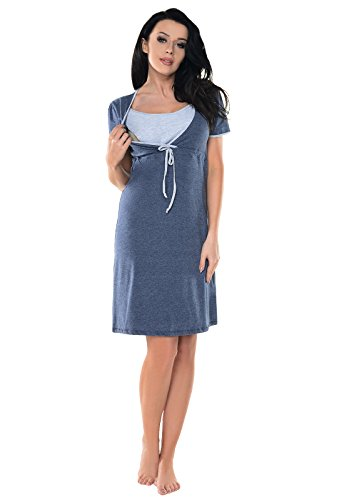 Purpless Maternity 2in1 Schwangerschaft und Pflege Herzen Spots Drucken und Plain Nachthemd 4044n Indigo Jeans Melange