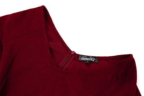 Gigileer Damen Vintage V-Ausschnitt Schwingen Rockabilly Ballkleid Kleider Cocktailkleid Burgundy S - 4