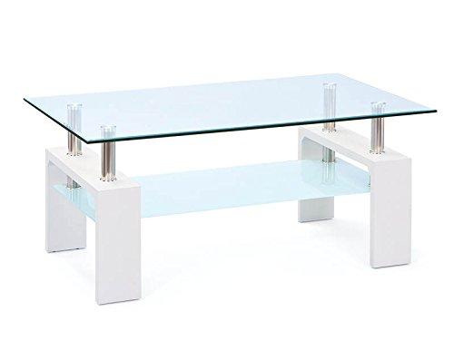 Inter Link 50100040 Couchtisch Glas Weiß Wohnzimmertisch Wohnzimmer Tisch Beistelltisch 1
