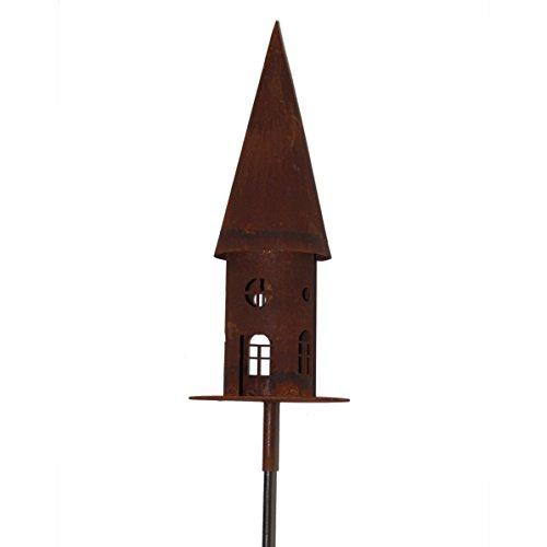 Metall Vogelhaus in Edelrostoptik von Saremo | rund auf Metallplatte Ø 22cm | 2-teilig inklusive Stab 150 cm