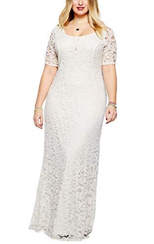 Suimiki Damen Oversize Dress Spitze Long Party Kleid Brautkleid Cocktailkleid Kurzarm-WH4XL