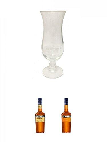 De Kuyper Cocktailglas 1 Stück + De Kuyper Amaretto Likör 0,7 Liter + De Kuyper Apricot Brandy Likör 0,7 Liter