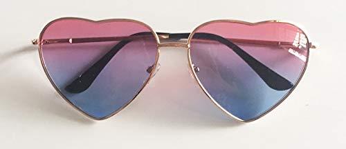WDXDP Sonnenbrillen Metallrahmen Herzförmige Sonnenbrille Frauen Herz Klar Partei Billige Sonnenbrille Für Frauen Rosa Gelb Uv400Rosa Blau
