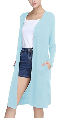 Damen Open - Front Cardigan Strickjacke Long Langarmshirt (L, Light blue) (Fly Away Strickjacke)