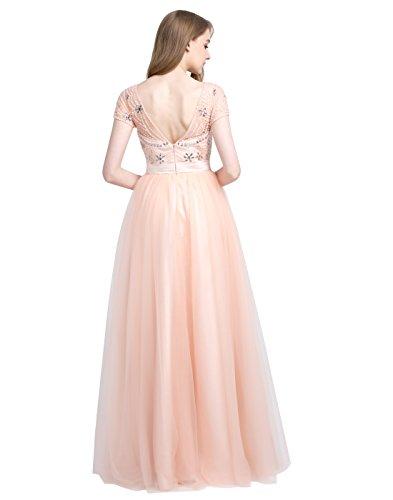 Dressystar Robe de gala/cérémonie longue, Col en V au dos, à fleur aux strass, mancherons, en tulle Blush