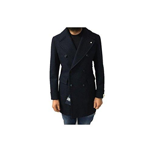 LUIGI BIANCHI MANTOVA cappotto uomo doppiopetto con martingala dietro,colore blu 52