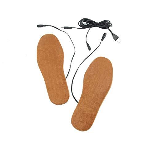 WSDF Plantillas eléctricas de Fieltro de Lana para Mujer, alimentadas por USB, para Deportes al Aire Libre, Senderismo, Camping, esquí, Mantener el Calor del pie, Color Amarillo, tamaño Tamaño Libre