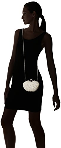 Damara Besondere Glamour Perle Strassstein Damen Hartschalen Clutch Handtasche,Champagne Weiß