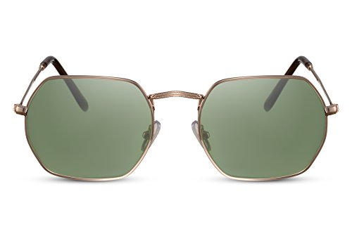 Cheapass Sonnenbrille Herren o. Damen Rund-e Gläser Gold-en Grün UV-400 Retro Metall