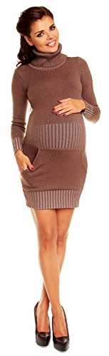 Zeta Ville Maternité Mini robe en maille grossesse col roulé poche - femme 178c Cappuccino