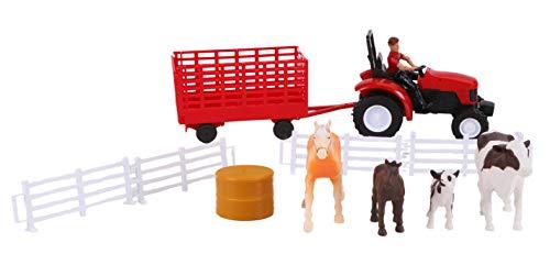 Newray Farm Animals & Accessories Ensemble de Jeu avec Tracteur Rouge, Chevaux, Vaches et balles - 3 Ans et Plus
