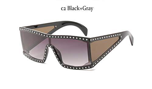 Cranky Orange Übergroße Markenmode Schwarze Sonnenbrille Männer Fahren Coole Sonnenbrille Quadratische männliche Flat-Top-Brille mit Spiegelantrieb, C2 Schwarz Grau