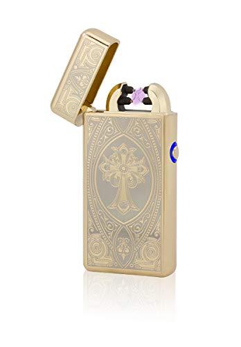 TESLA Lighter T08 Lichtbogen Feuerzeug, Plasma Double-Arc, elektronisch wiederaufladbar, aufladbar mit Strom per USB, ohne Gas und Benzin, mit Ladekabel, in Edler Geschenkverpackung, Kreuz Gold