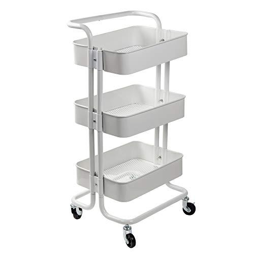 D4P Display4top Carrito con Bloquear Ruedas, Carrito Auxiliar con 3 Nivel para la Cocina, baño, Dormitorio de Almacenamiento (Blanco)