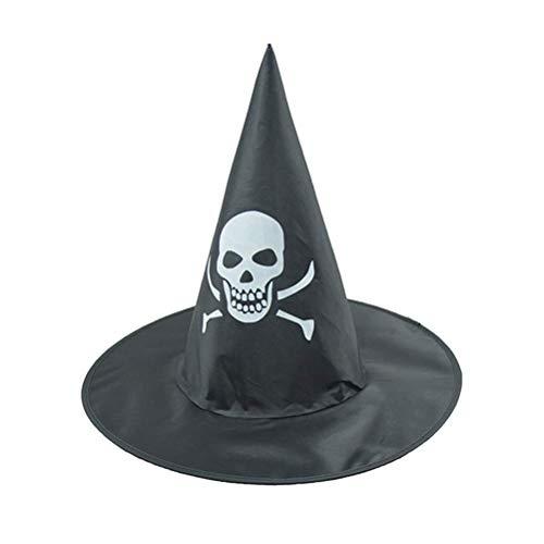 WMING Home Zauberer Hüte Schädel Muster Hexenhut Party Hut Halloween Kostüme Halloween Party Requisiten Cosplay Kostüm Zubehör für Kinder Erwachsene