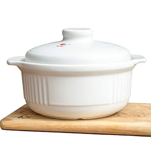 CANGZ Weiß Große Kapazität Haushalt Einfache Hochtemperatur Auflauf Mehrzweck Suppentopf Auflauf Keramik Brei Topf Topf 2L / 3L (Size : 3L)