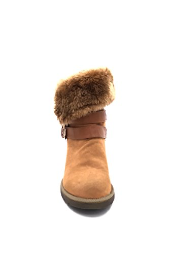 CHIC NANA . Chaussure femme botte compensée en effet daim, fourrure synthétique tour de cheville. Camel