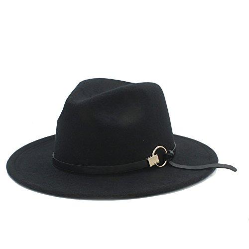 HONGkeke Damen breiter Krempe Fedora Caps Trilby Jazz Hut Lady Sombrero mit Metallzubehör Mode Blickfang (Farbe : 11, Größe : 57-59cm)