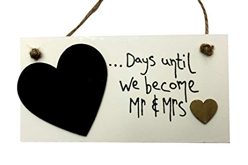 DDING COUNTDOWN PLAQUE 'golden heart' SIGN CHALKBOARD ENGAGEMENT GIFT by MadeAt94 ()