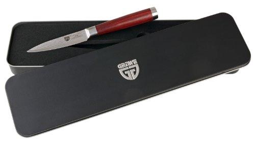GRÄWE Damaszener Gemüsemesser 10 cm Klinge - kleines Damast-Küchenmesser mit Pakkawood-Griff, in Metall-Box