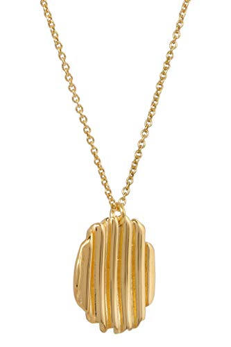 JUKSEREI Damen Halskette Square Chips-Necklace Gold - Kette aus der Chips Collection mit rundem Anhänger Silber vergoldet - JUK-NCH471RUg