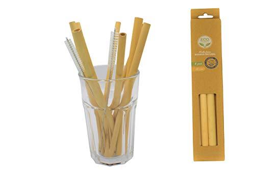 GreenLions Premium Bambus Strohalme 8er Pack + 2 Reinigungsbürsten - nachhaltig - 100{08c146ae4b9478903adad64774f7a72145c4ed1ea704f2f6d92f438469875ff4} biologisch abbaubar - umweltfreundliche Trinkhalme für fruchtige Smoothies, leckere Cocktails - Wiederverwendbar