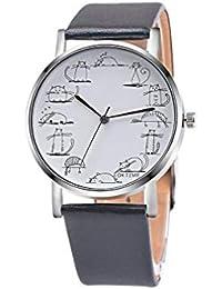 8541ee1f3871 Scpink Precioso Gato de Dibujos Animados Relojes Banda de Cuero Reloj de  Pulsera de Cuarzo analógico
