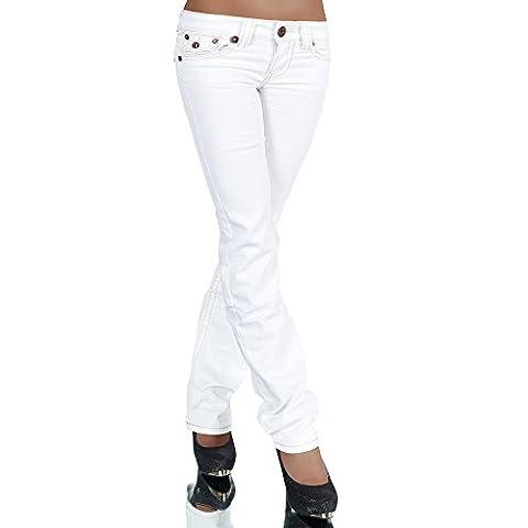 H922 Damen Bootcut Jeans Hose Damenjeans Hüftjeans Gerades Bein Dicke Naht Nähte, Farben:Weiß;Größen:44