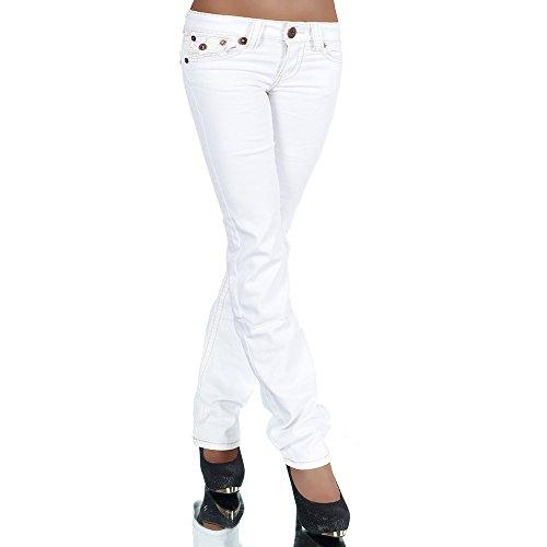 H922 Damen Bootcut Jeans Hose Damenjeans Hüftjeans Gerades Bein Dicke Naht Nähte, Farben:Weiß;Größen:36 (S)
