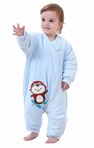 Chilsuessy Unisex Baby Winter Schlafsack mit Beinen abnehmbar Langarm Schlafanzug Spielanzug Schneeanzug Kleinkinder Schlafsäcke mit Füßen, Blau/2.5 Tog, 100/Koerpergroesse 110-120cm