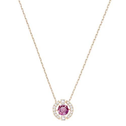 Swarovski collana sparkling dance round, rosso, placcato oro rosa