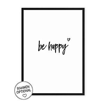 Wunderpixel® Kunstdruck be happy – auf wunderbarem Hahnemühle Papier DIN A4 | ohne Rahmen- schwarz-weißer FineArt-Print Poster zur Wand-Dekoration im Büro/Wohnung/als Geschenk-Idee zum Geburtstag