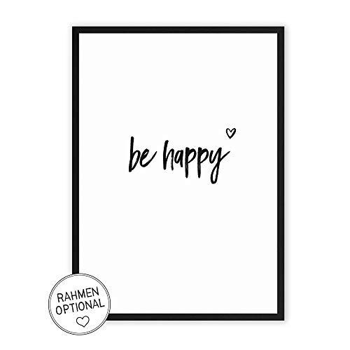 Wunderpixel® Kunstdruck be happy - auf wunderbarem Hahnemühle Papier DIN A4 | ohne Rahmen- schwarz-weißer FineArt-Print Poster zur Wand-Dekoration im Büro/Wohnung/als Geschenk-Idee zum Geburtstag